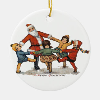 Santa and Children Double-Sided Ceramic Round Christmas Ornament