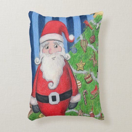 Santa and Christmas Tree Holly Jolly Accent Pillow