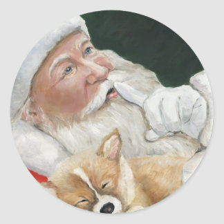 Santa and Corgi Pup Christmas Sticker