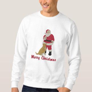Santa and Dog Embroidered Christmas Sweatshirt