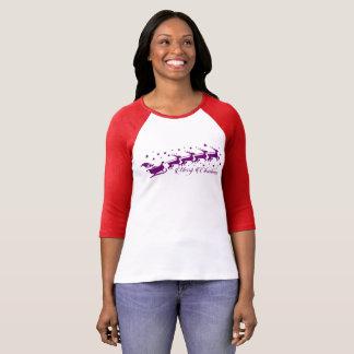 Santa and Flying Reindeer Silhouette T-Shirt