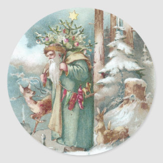 Santa and Forest Animals Vintage Christmas Round Sticker