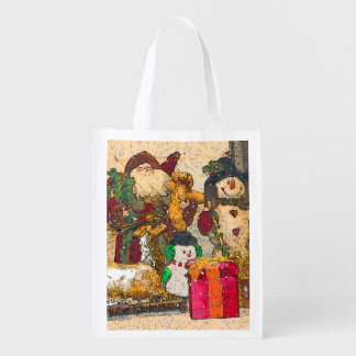 SANTA AND FRIENDS REUSABLE GROCERY BAG