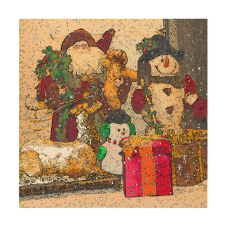 SANTA AND FRIENDS WOOD WALL DECOR