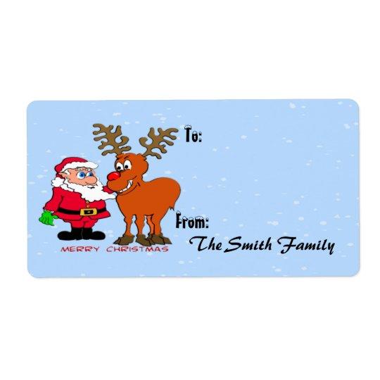 Santa and Gift Tag (large) Shipping Label