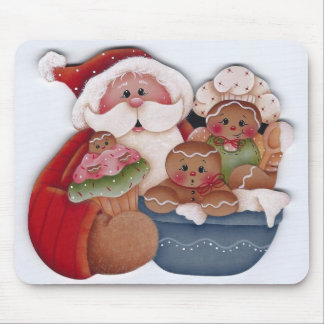 Santa and Gingerbread Baby Chef Bakers Mouse Pad