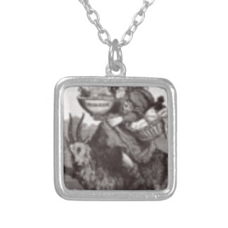 Santa and goat silver plated necklace