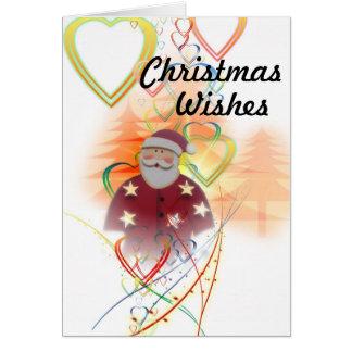 Santa and Hearts, Christmas Wishes Card