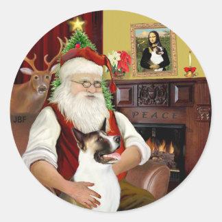 Santa and his Akita Classic Round Sticker