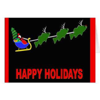 "Santa and his ""Bass Deer"" Card"