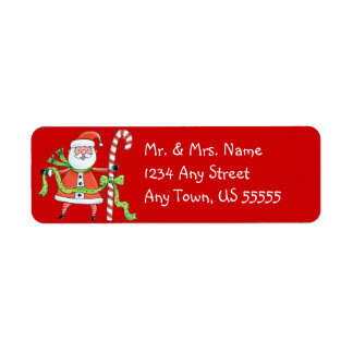 Santa and his Candy Cane Address Labels