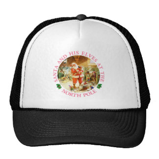 Santa and His Elves at the North Pole Trucker Hat