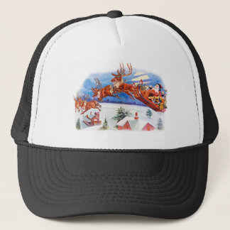 Santa and His Flying Reindeer Trucker Hat