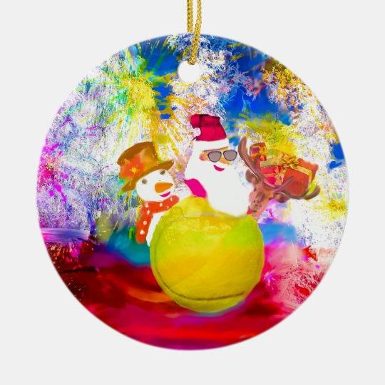 Santa and his friends enjoy the season ceramic ornament