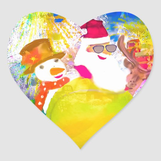 Santa and his friends enjoy the season heart sticker