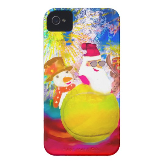 Santa and his friends enjoy the season iPhone 4 cases
