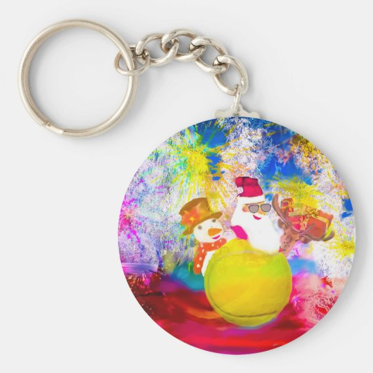 Santa and his friends enjoy the season keychain