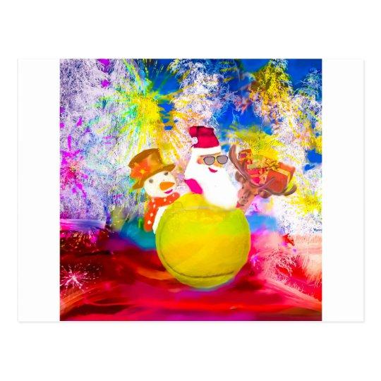 Santa and his friends enjoy the season postcard