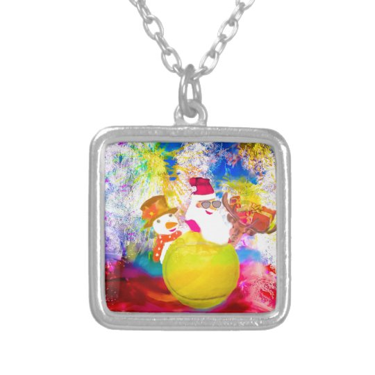 Santa and his friends enjoy the season silver plated necklace