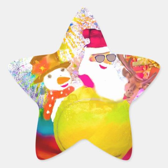 Santa and his friends enjoy the season star sticker