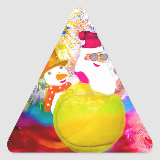 Santa and his friends enjoy the season triangle sticker