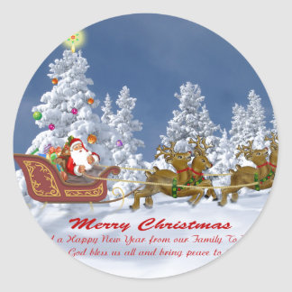 Santa and his Reindeer Christmas cards Round Sticker