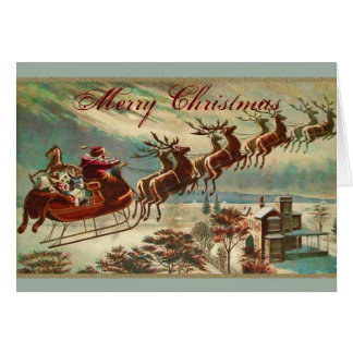 Santa and his Reindeer Sled Christmas Greeting Card