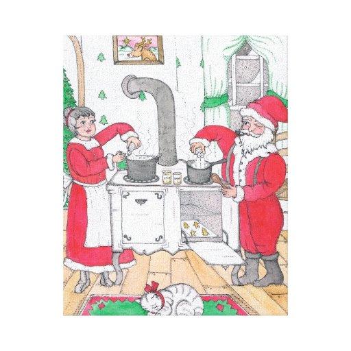 Santa and Mrs. Claus 8 x 10 Canvas Canvas Print