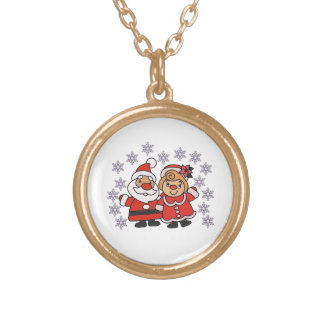 Santa and Mrs Claus Gold Plated Necklace