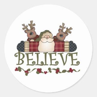 Santa and Reindeer Believe Classic Round Sticker