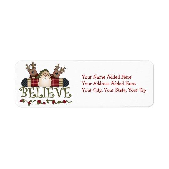 Santa and Reindeer Believe Return Address Labels