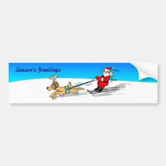 Santa and Reindeer Bumper Sticker