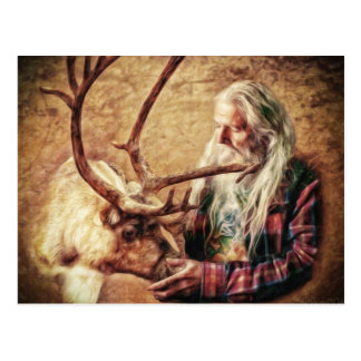Santa and Reindeer by Shawna Mac Postcard