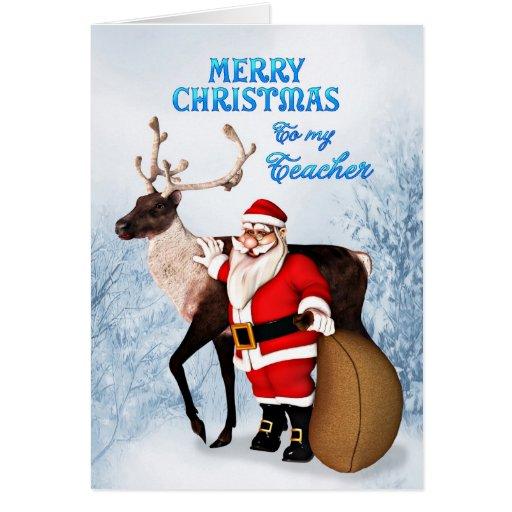 Santa and reindeer Christmas card for teacher