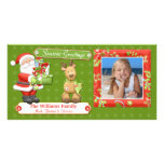 Santa and Reindeer Christmas Card Personalized Photo Card