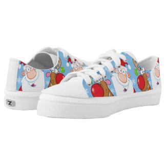 Santa and Reindeer Christmas Design Low-Top Sneakers