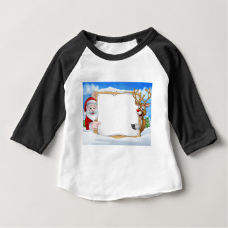 Santa and Reindeer Christmas Sign Background Baby T-Shirt