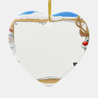 Santa and Reindeer Christmas Sign Background Ceramic Heart Ornament
