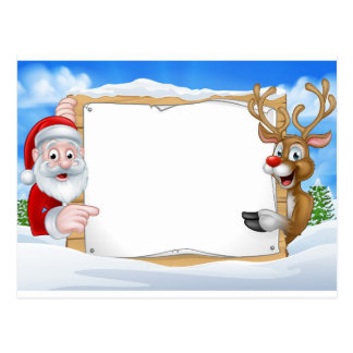 Santa and Reindeer Christmas Sign Background Postcard
