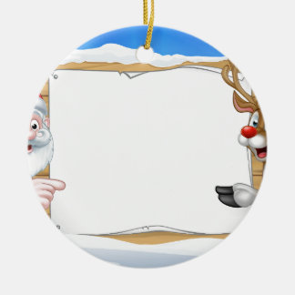 Santa and Reindeer Christmas Sign Background Round Ceramic Ornament