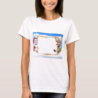 Santa and Reindeer Christmas Sign Background T-Shirt