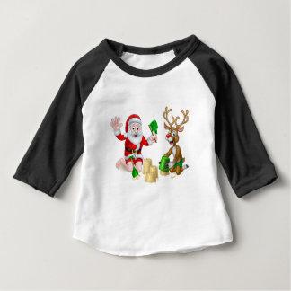 Santa and Reindeer Christmas Summer Beach Baby T-Shirt