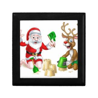 Santa and Reindeer Christmas Summer Beach Trinket Boxes