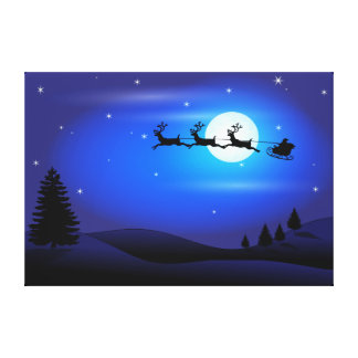 Santa and Reindeer Flying Across Blue Night Sky Gallery Wrap Canvas