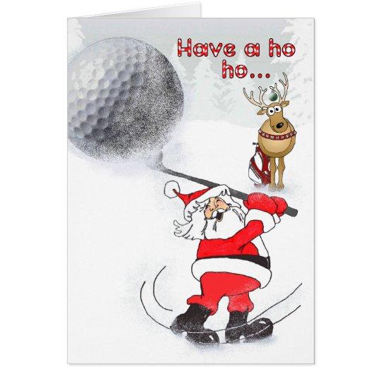 Santa and reindeer friend golfing. card