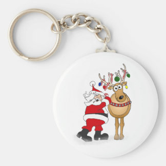 Santa and reindeer friend! keychain