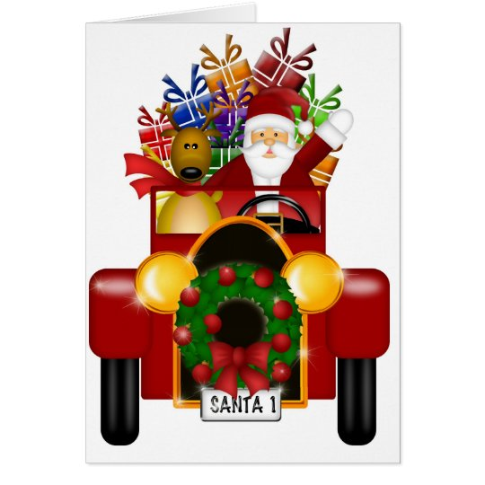 Santa and Reindeer in Red Antique Car with Gifts Card