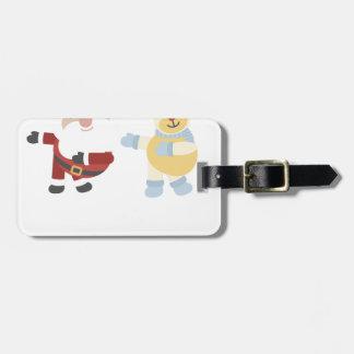 santa and reindeer luggage tag