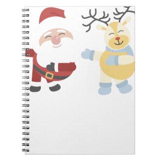 santa and reindeer notebook