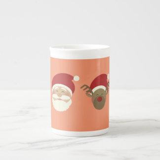 Santa and Reindeer Rose Mug
